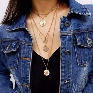Multi-Layered Coins Pendant Necklace Long Layered